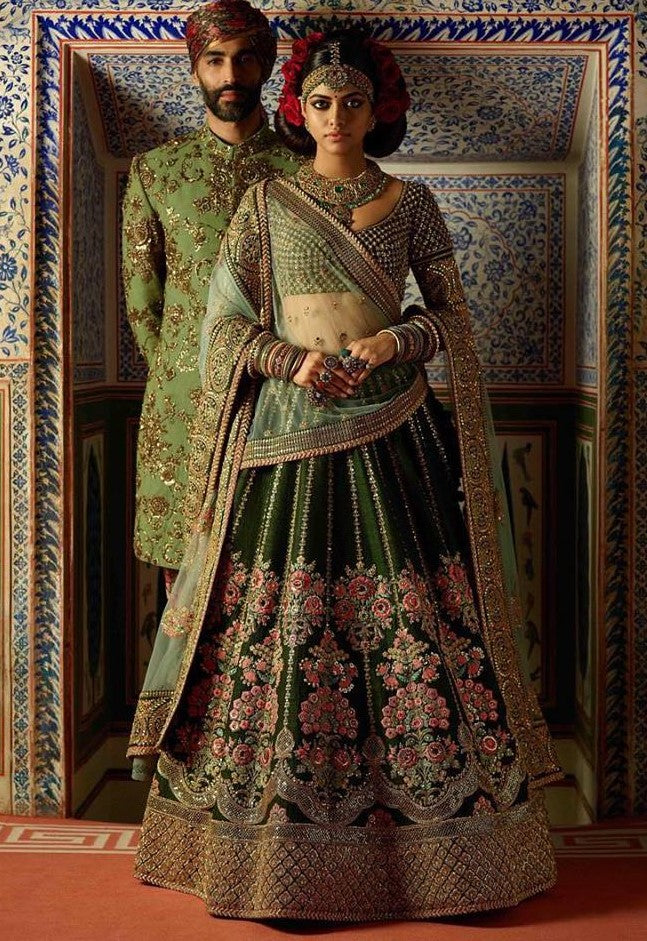 Mehendi Green Color Wedding Lehenga