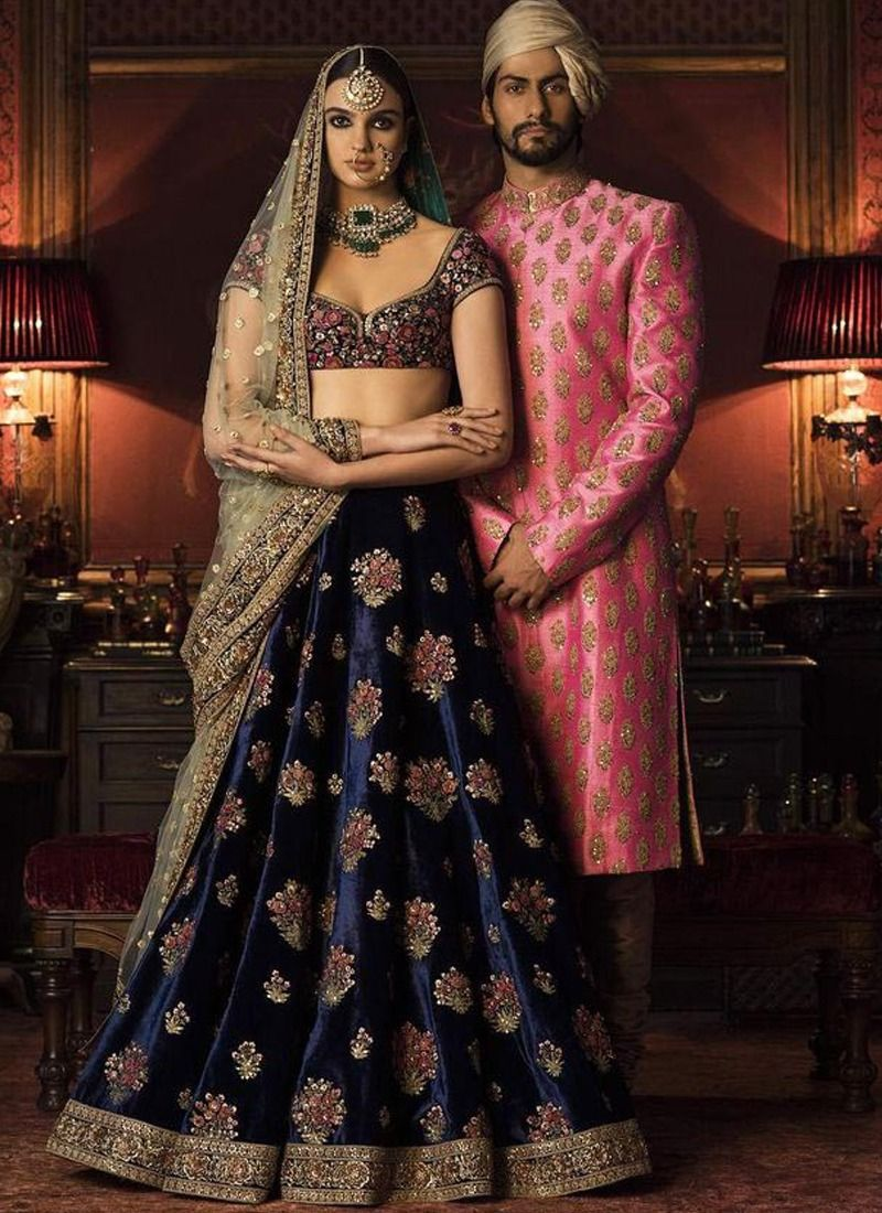 Navy Blue Color Wedding Lehenga