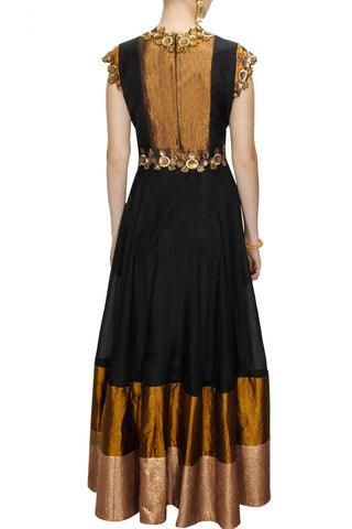 Black and antique anarkali suit