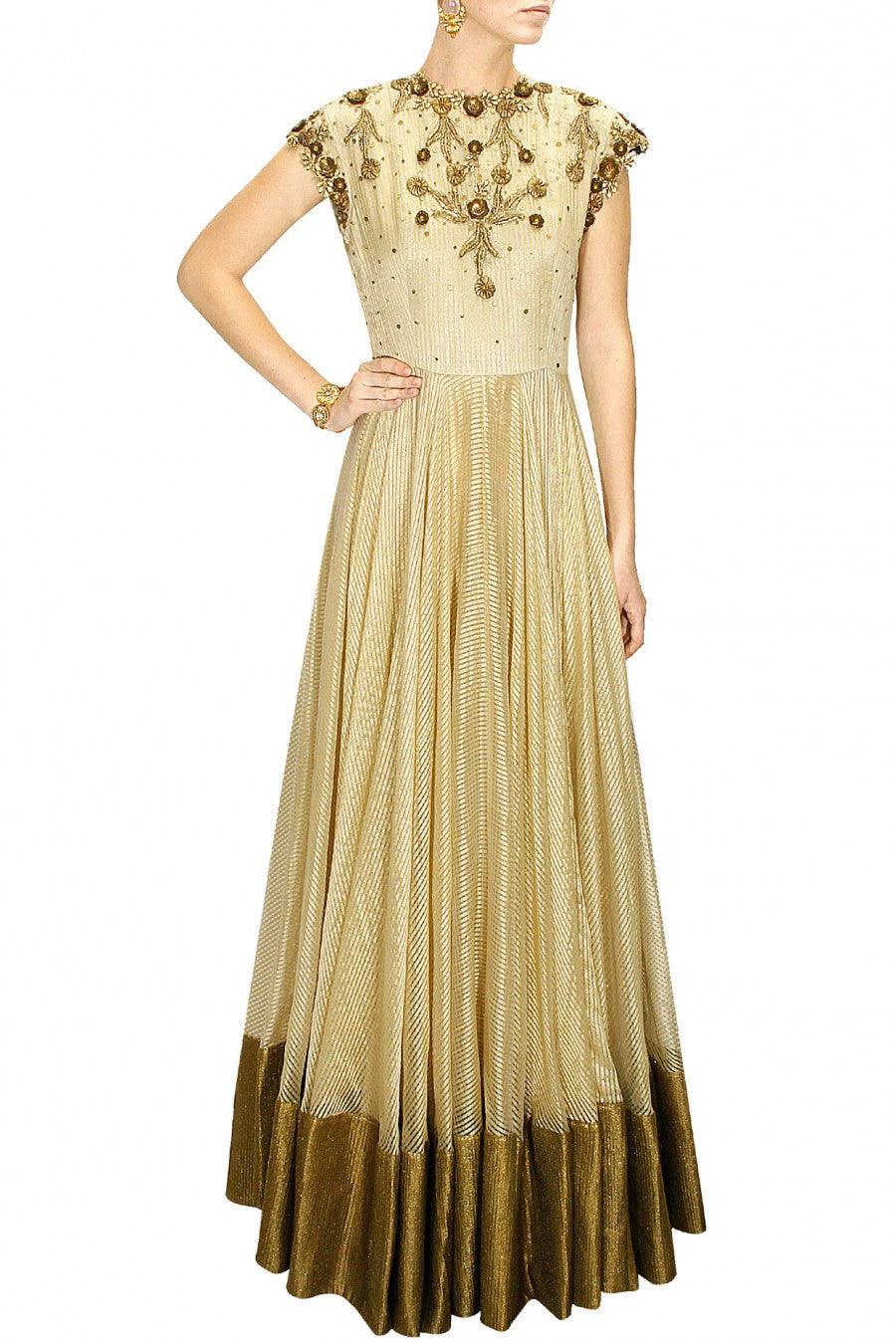 Offwhite floor length anarkali salwar kameez in Matka Silk
