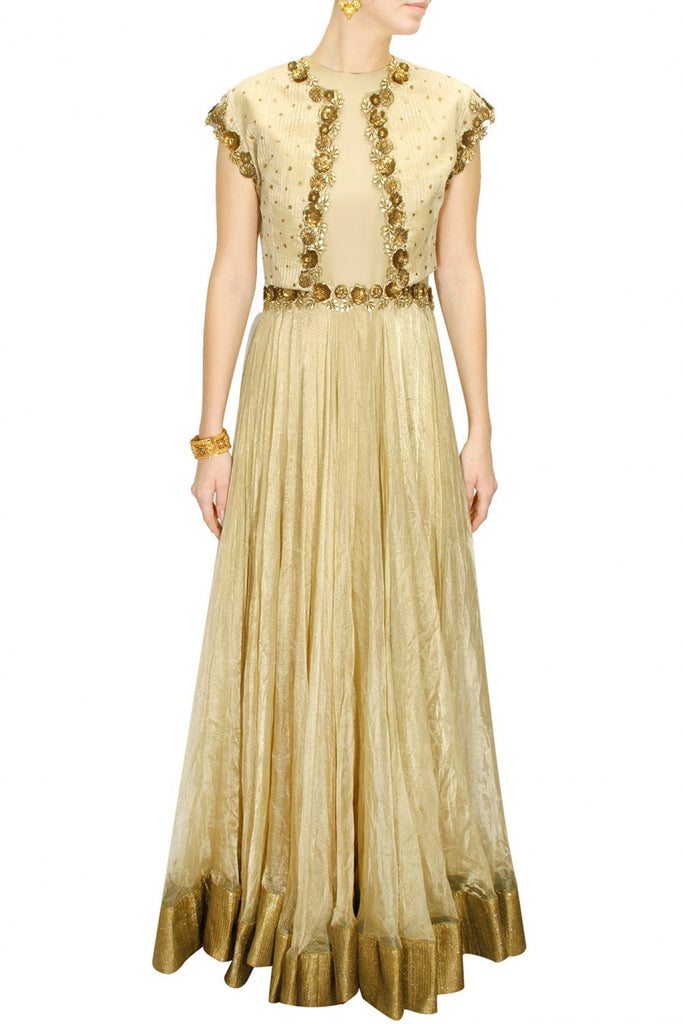 Offwhite floor length anarkali