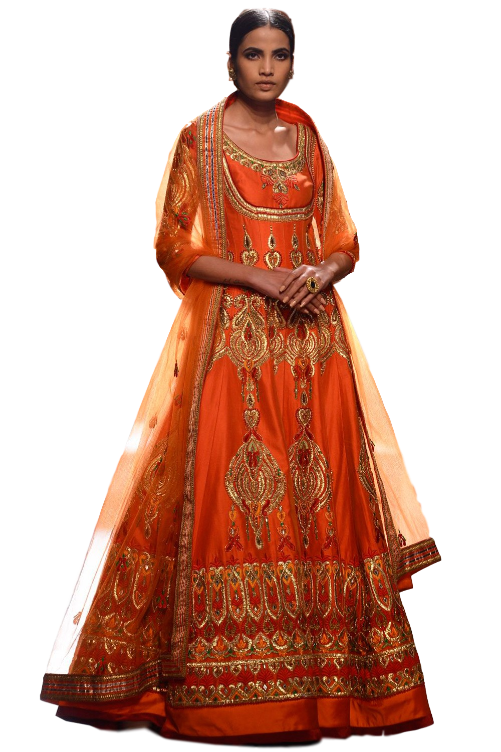 Orange color anarkali lehenga set