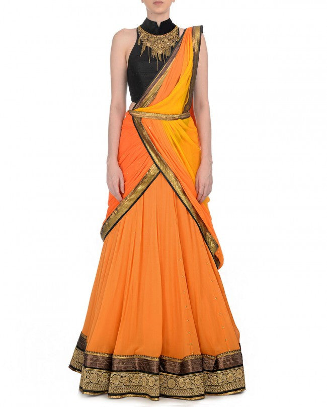 Orange and black party wear chaniya choli