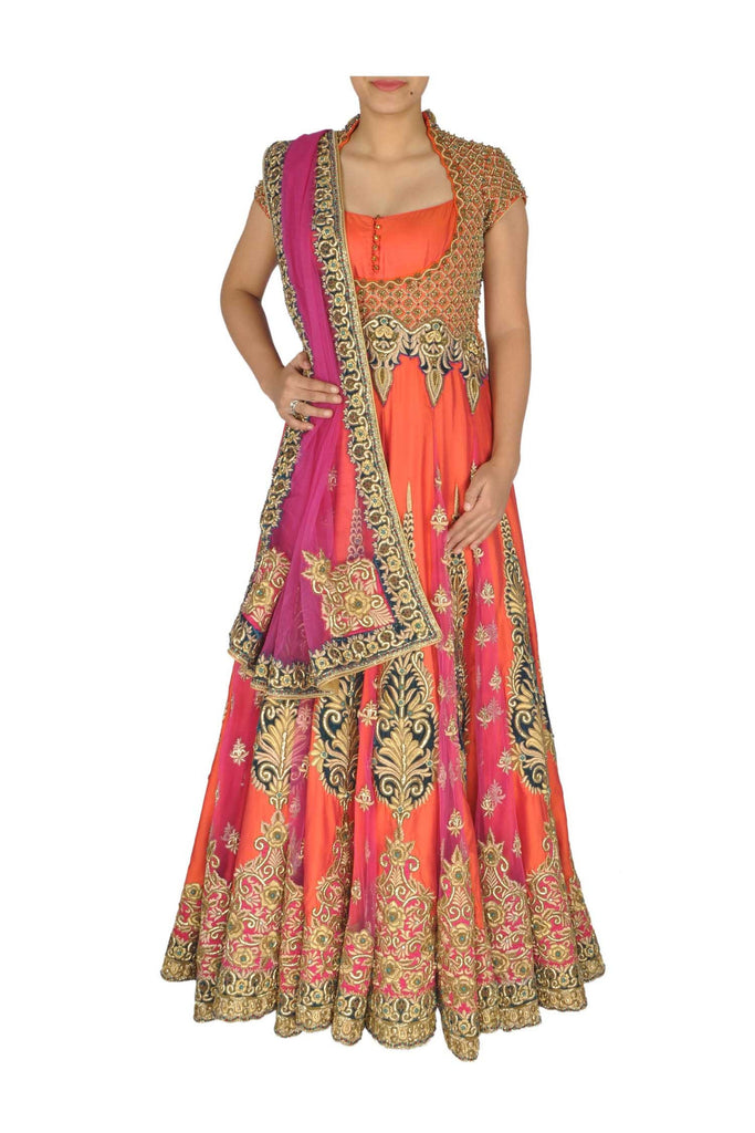 orange and pink anarkali suit at panache haute couture