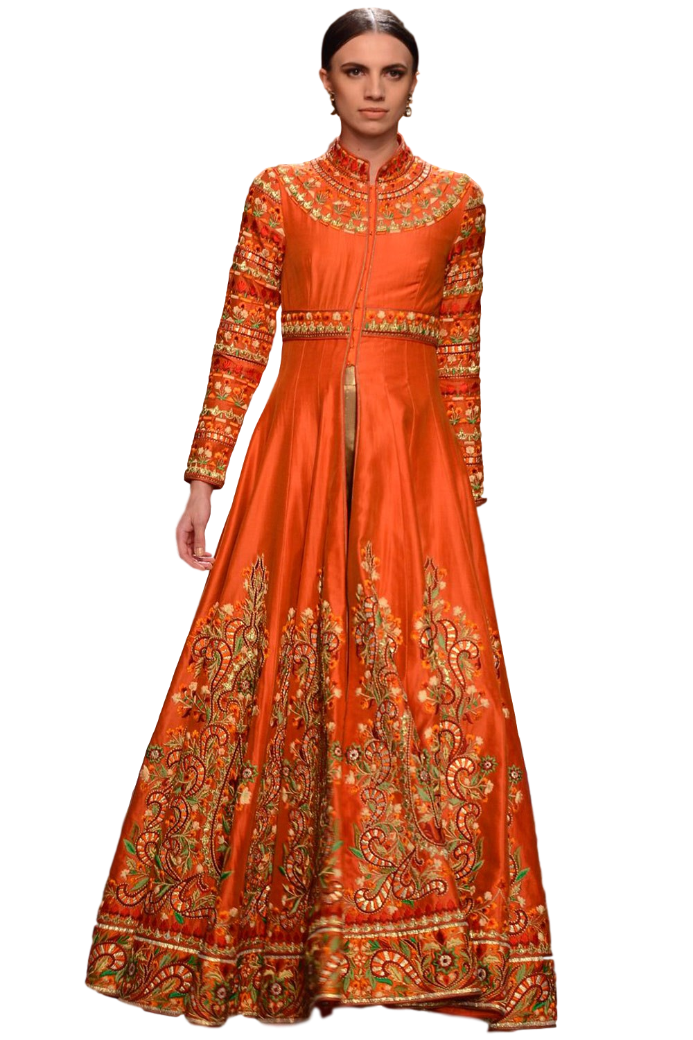 Orange color jacket anarkali and plazzo set