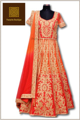 Orange and Red Ombre Anarkali