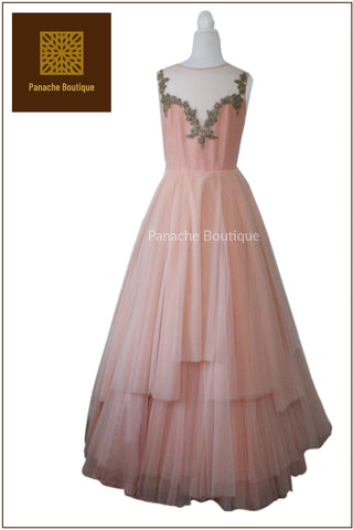 Light Peach Indo Western Gown