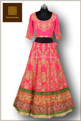 Pink Colour Wedding Lehenga in Zardozi Embroidery