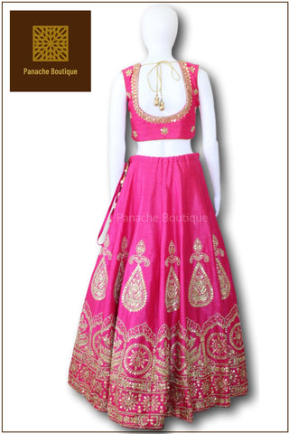 Dark Pink Colour Gotta Patti Lehenga Choli