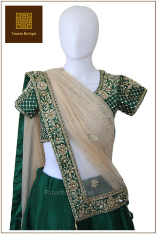Emerald Green Zardozi Lehenga Choli