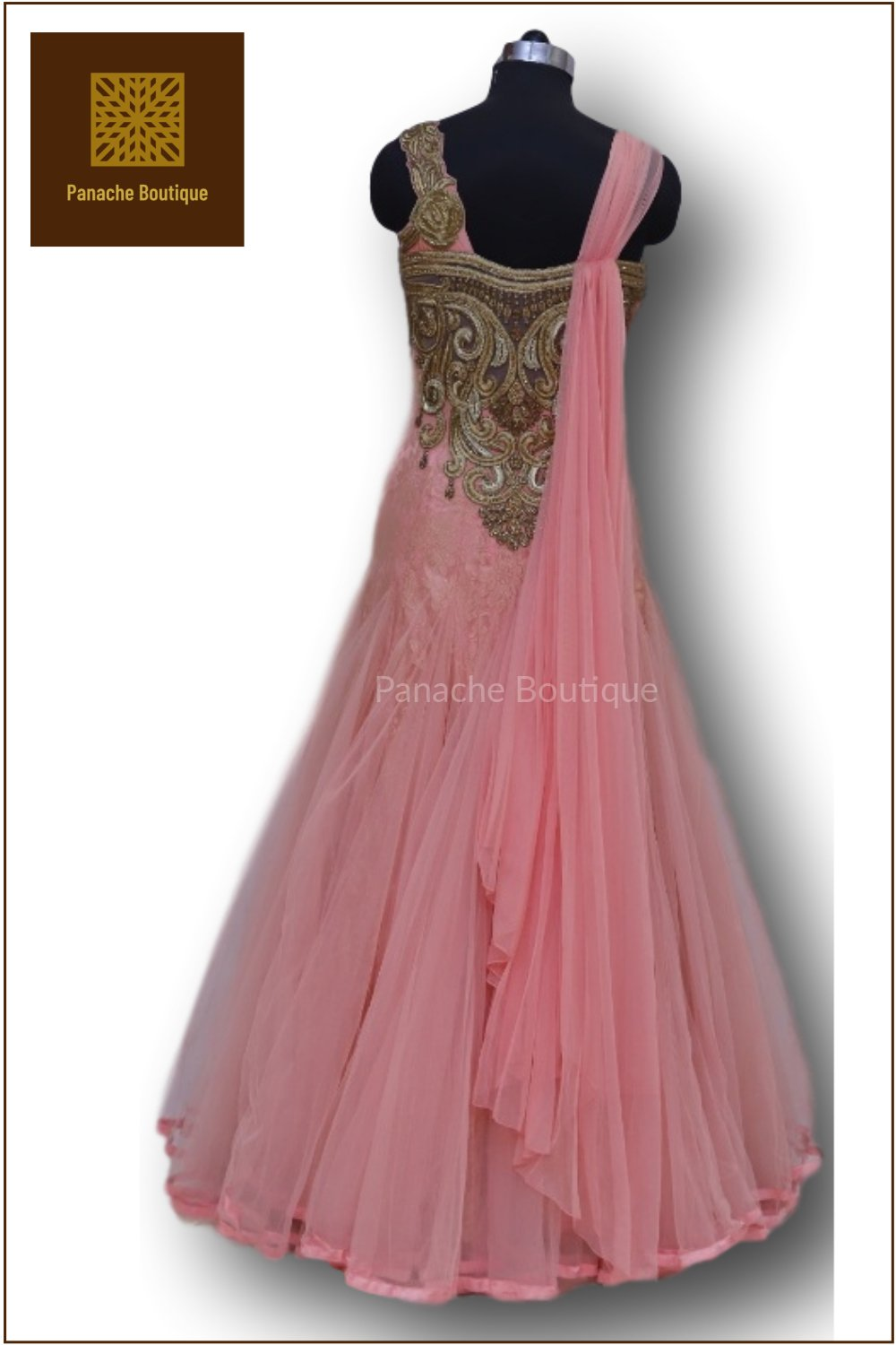 Light Pink Colour Indo Western Gown