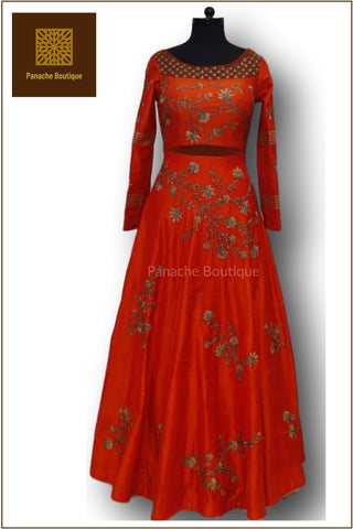 Orange Colour Anarkali Gown