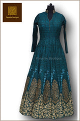 Teal Blue Colour Floor Length Anarkali