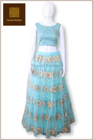 Powdered Blue Colour Lehenga Choli