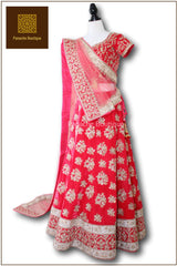 Watermelon Red Colour Wedding Lehenga