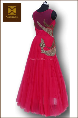 Dark Pink Colour Indo Western Gown