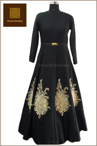 Black Colour Floor Length Gown