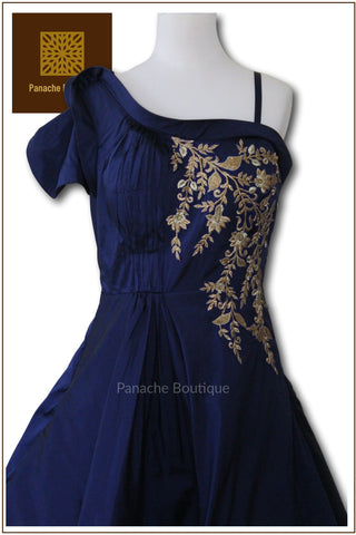 Blue Colour Indo Western Gown