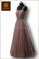 Brown Ombre Floor Length Gown