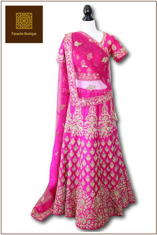 Rani Pink Colour Wedding Lehenga