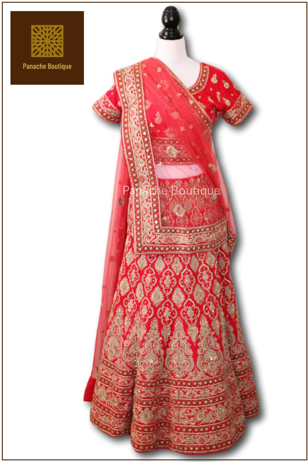 Bright Red Colour Wedding Lehenga