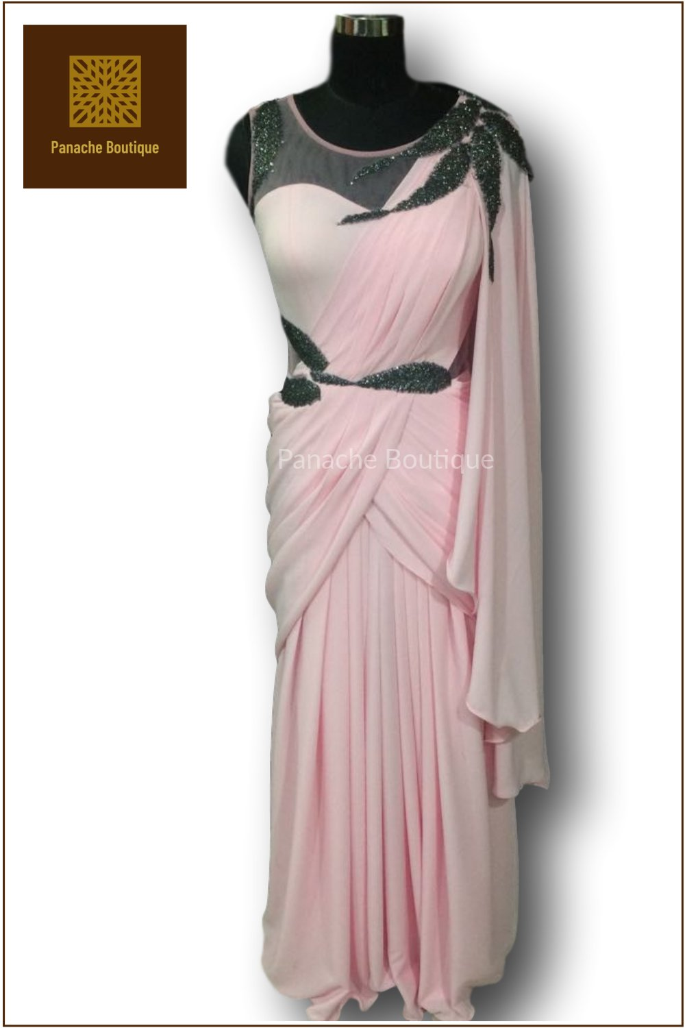 Baby Pink Colour Saree Gown