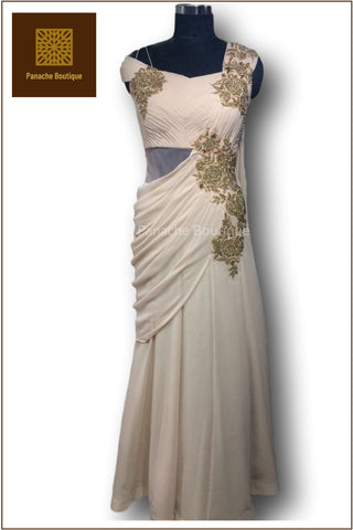 Beige Colour Saree Gown