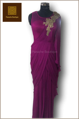 Purple Colour Saree Gown
