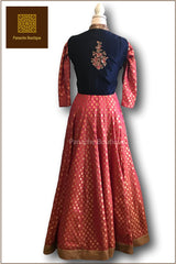 Pink Anarkali With Blue Jacket