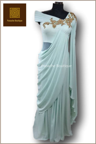 Pastel Mint Colour Saree Gown