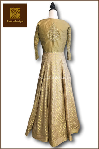 Gold Anarkali with Jacket
