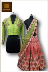 Coral and Lime Green Lehenga Choli