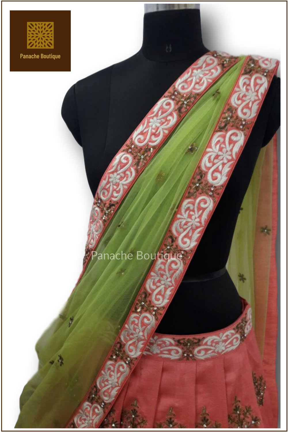 8766e85262 Coral and Lime Green Lehenga Choli – Panache Haute Couture