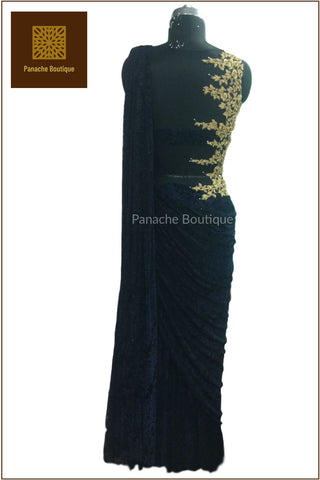 Black Colour Saree Gown