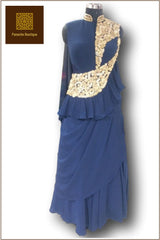 Blue Color Saree Gown