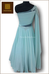 Mint Colour Saree Gown
