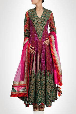 Pink and green color frock suit available online