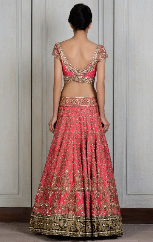 Pink color raw silk lehega choli