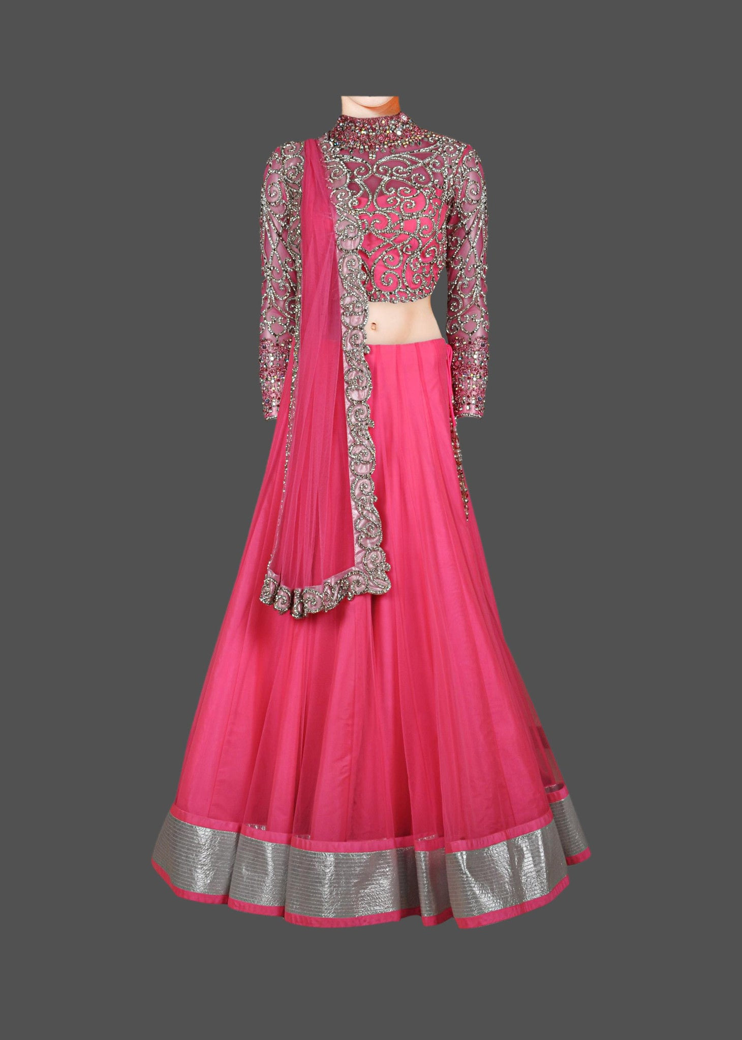 Pink color heavy embroidered lehenga choli