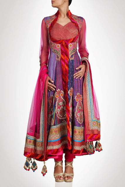 Purple color long anarkali salwar kameez / suit