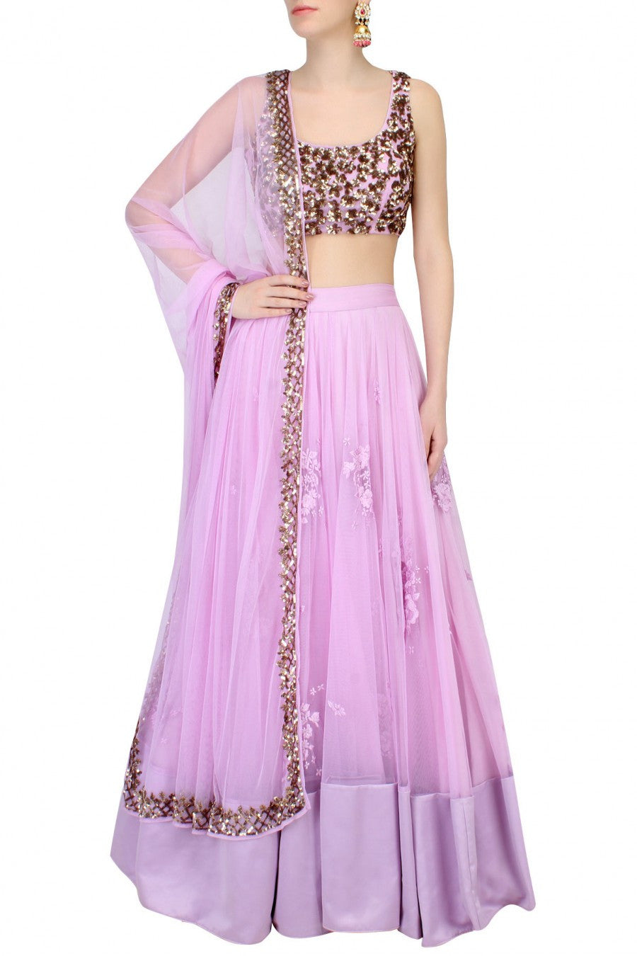 Purple lehenga choli with sequin embroidery blouse