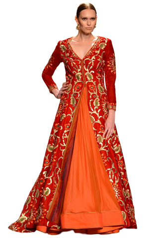 Red and orange color Jacket lehenga in velvet