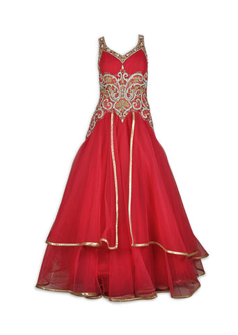 Red color Indo Western Gown with double layers