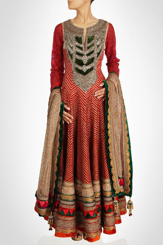 Floor length anarkali suit in red color