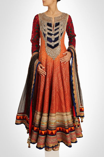 orange color floor length anarkali suit