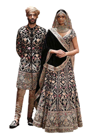 Black Color Hand Embroidered Sherwani Set