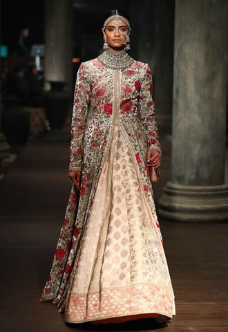 Pastel Color Wedding Jacket Lehenga
