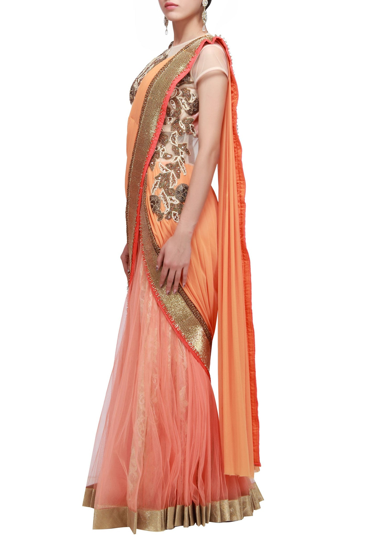 Peach color saree gown