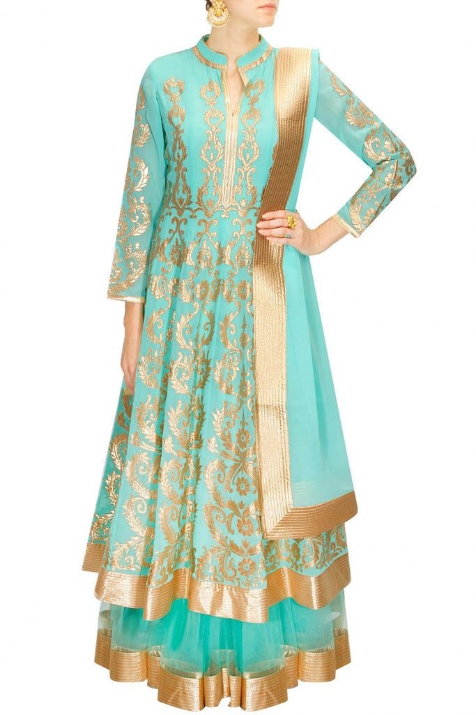 Sea green anarkali lehenga set