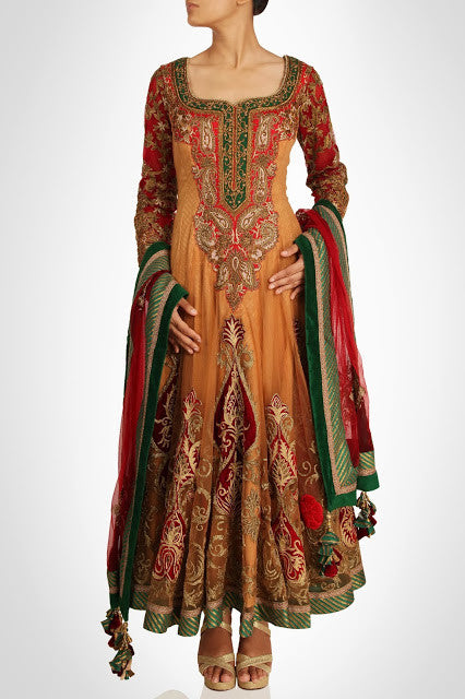 Skin color long anarkali suit in pure crepe